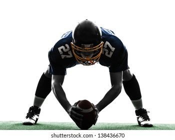 one center  american football player man in silhouette studio isolated on white background