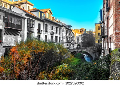 One of the charming street situated on riverside of river Darro in Granada, Andalusia