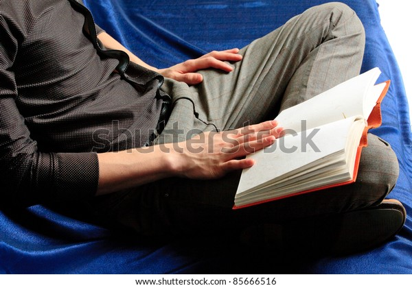One cheerful Student and notebook. Close up.