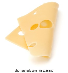 one Cheese slice isolated on white background.