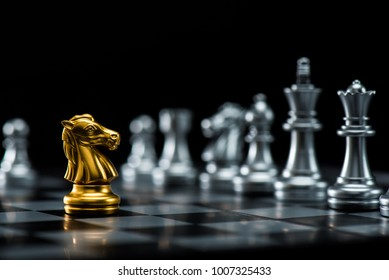 One  chess pieces staying against full set of chess pieces. Strategy, Planning and Decision concept