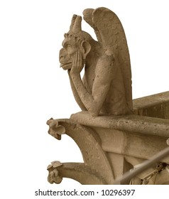 One of chimeras on Notre-Dame, Paris. White background for next design