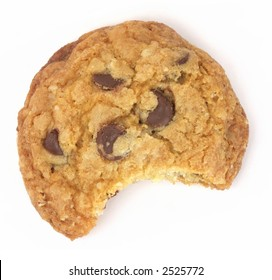 One chocolate chip cookie with a bite taken out, isolated on white background.
