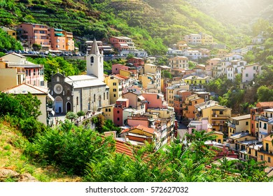 One of Cinque Terre villages - Riomaggiore is located amidst hills in Liguria, Italy.