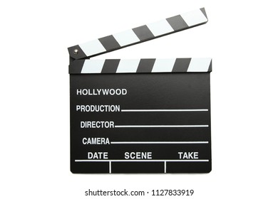 One clapper board isolated on white background.