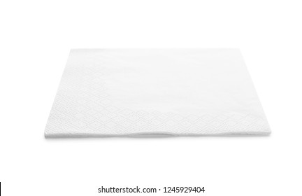 One clean paper napkin on white background