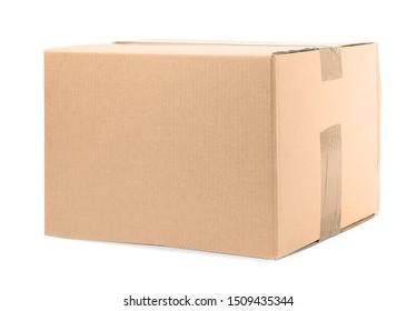 One closed cardboard box on white background