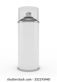 One closed white aerosol can. 3d render on white background