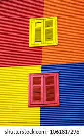One of the colorful facades of La Boca in Buenos Aires, Argentina