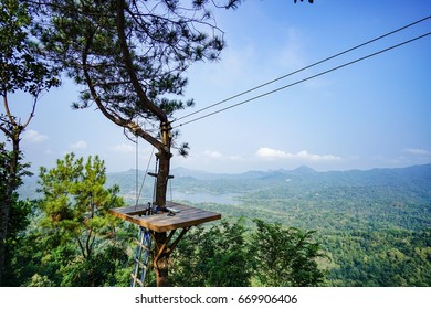 One of the corners of flying fox in kalibiru, Kulonprogo, Yogyakarta, Indonesia