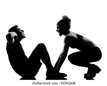 one couple man woman exercising workout aerobic fitness posture full length silouhette on studio isolated on white background
