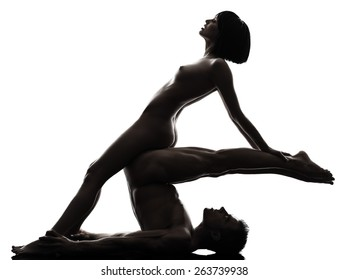 one  couple man woman sexual kamasutra posture love activity in silhouette studio on white background