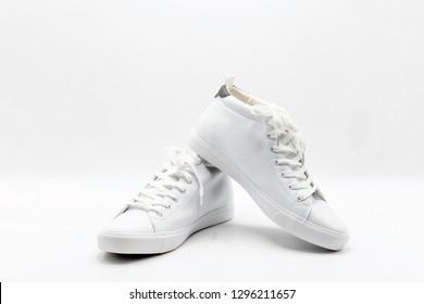 one couple white shoe on white background