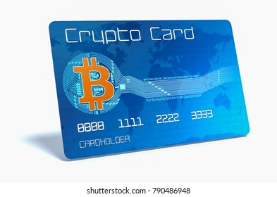 one credit card for the bitcoin cryptocurrency on white background (3d render)