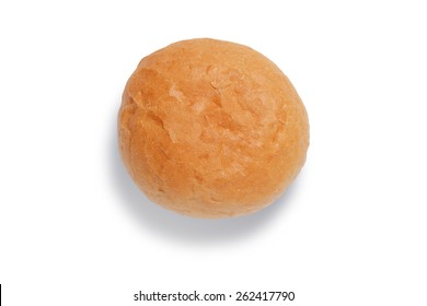 One crusty bread roll shot from above isolated on white with clipping path