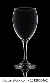 one crystal wine glass on a black background white contours