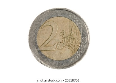 One currency of two euros on a white background