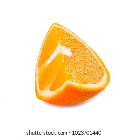 one cut piece of vitamin sweet tropical orange on white background