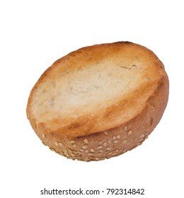 one cut toasted burger roll on top of a white background