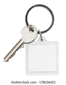 one cylinder lock key and square keychain on ring isolated on white background