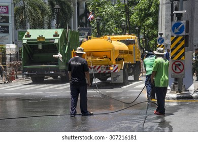 One day after bomb explosion in Ratchaprasong Intersection on August 18, 2015 in Bangkok, Thailand. Explosion on August 17, 2015 at 6:55PM, Killing 23 people in the area.