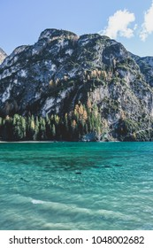 One day at an alpine lake in north Italy. The beautiful lake of Pragser never ceases to amaze.