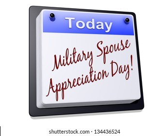 """One day Calendar with """"Military Spouse Appreciation Day"""" on a white background"""