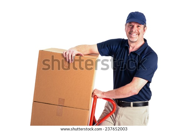 One delivery man with boxes and a hand truck