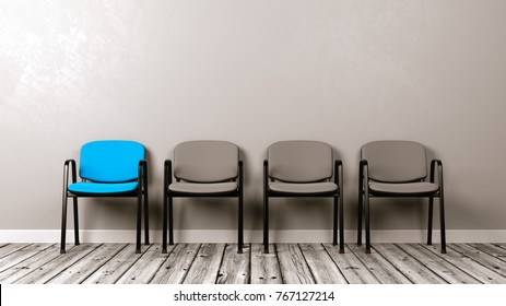 One Different Colored Chair in a Row of Grey on Wooden Floor Against Grey Wall with Copyspace 3D Illustration