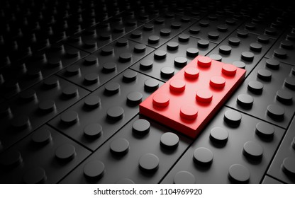 One different red toy brick. individuality conceipt. 3d rendering
