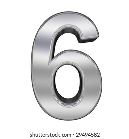 One digit from chrome alphabet set, isolated on white. Computer generated 3D photo rendering.