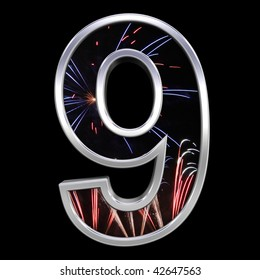 One digit from firework with chrome frame alphabet set, isolated on black. Computer generated 3D photo rendering.