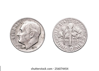 One Dime U.S.A dated 1977 which was one year after the Bi-centennial celebrations of American independence. The dime is one tenth of a Dollar..
