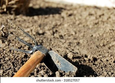 one dirty gardening hand tool - hoe in dirt closeup