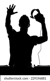 One disc jockey man in silhouette on white background.