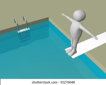 One diver standing on the diving board