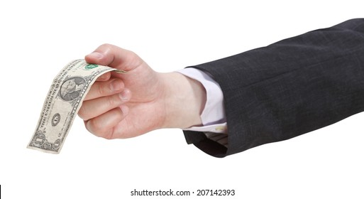 one dollar banknote in businessman hand isolated on white background