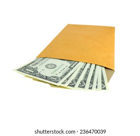 One dollar banknote colored leaves in brown envelope.