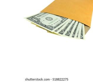 One dollar banknote colored leaves in brown envelope.