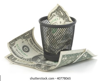 One dollar banknote in a trash bucket. Isolated.