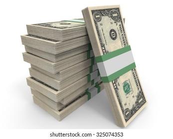 One dollar banknotes background. 3D illustration.