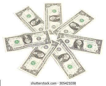 one dollar banknotes isolated on white background