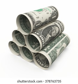 One dollar banknotes roll (isolated )