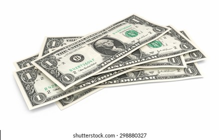 One dollar banknotes stacks (isolated and clipping path)