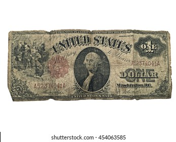 A one dollar bill from 1917.  It's tattered and torn showing many years of use.