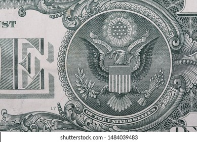 One dollar bill American crest eagle, banknote background and texture, macro