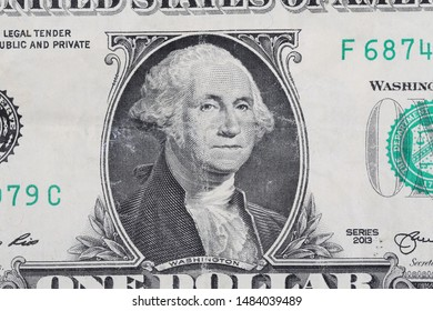 One dollar bill, banknote George Washington portrait background and texture, macro