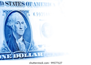 one dollar bill, blue toned fading to white from left to right