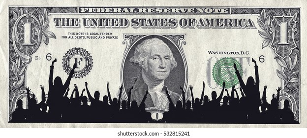 One Dollar Bill & Crowd Silhouette
