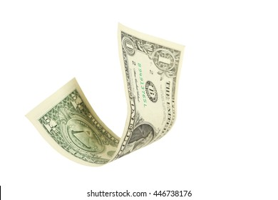 One dollar bill falling on white background